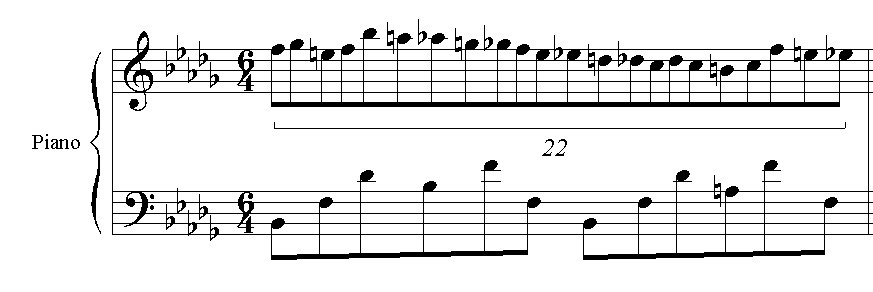 [ picture you obviously aren't seeing: chopin nocturne op. 9 no. 3 showing 22 notes in one measure of the right hand]